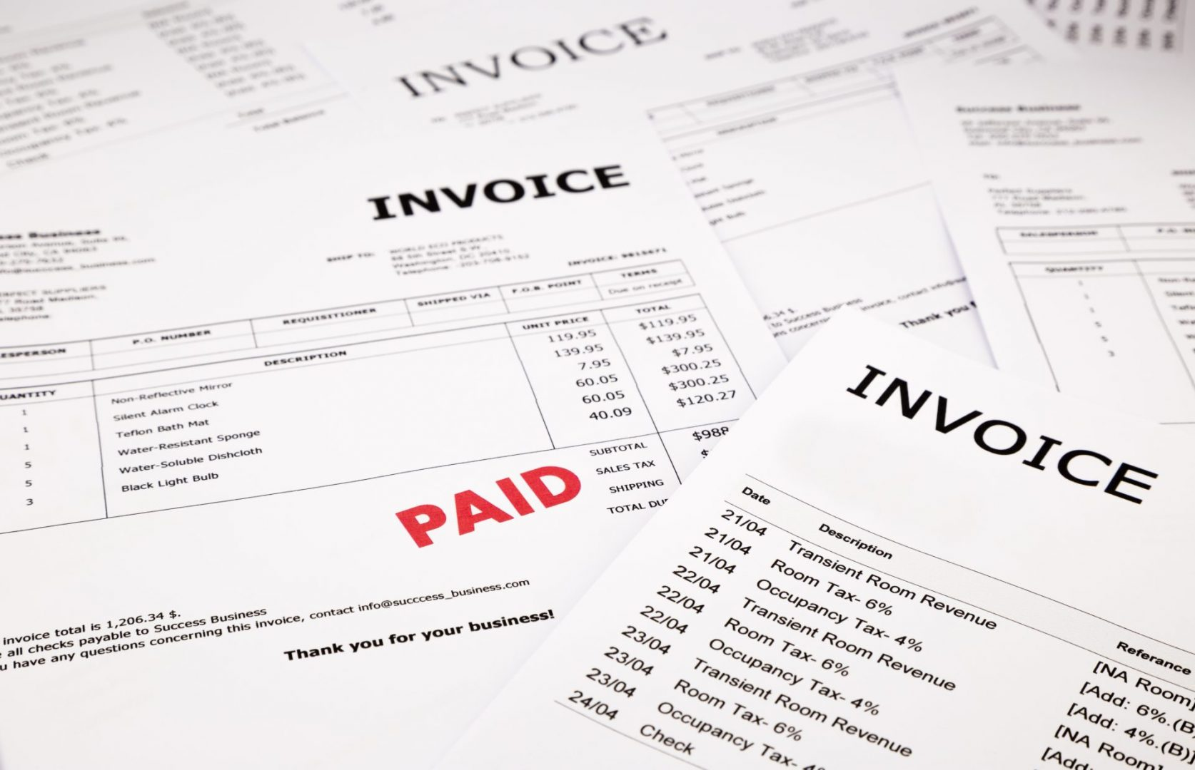 image of invoices for website J&J Commercial Finance