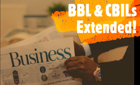 Picture of business newspaper with title BBL & CBILs extended for website J&J Commercial Finance
